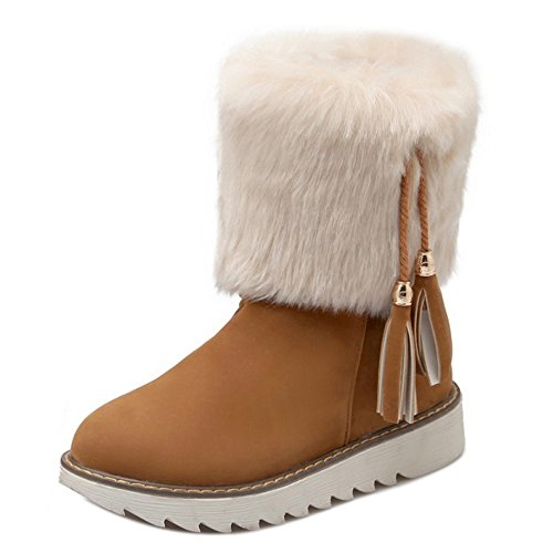 RAZAMAZA Pull Women Yellow Boots Warm Lined Brown On 88COprq