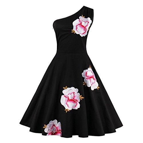 Sexy Vestidos de verano un hombro negro Floral Vestido Vintage 1950 mujeres elegantes de estilo retro Rockabilly vestidos vestido Negro