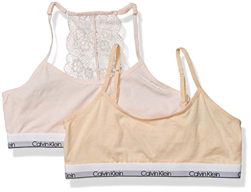 Calvin Klein Girls' Little Kids Modern Cotton Racerback Bralette with Lace, Multipack