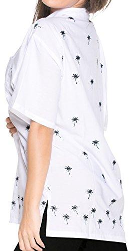 blusas de la camisa hawaiana botón de ajuste relajado mujer mangas cortas blanca hacia abajo la parte superior blanco