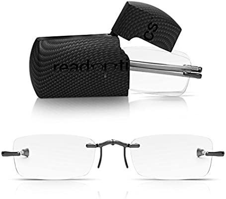 675ef132081 Read Optics Folding Reading Glasses +1.5  or 1 to 3.5   Patented Mens Womens  Compact Rimless Pocket Readers with Telescopic Arms and Rectangular Premium  ...