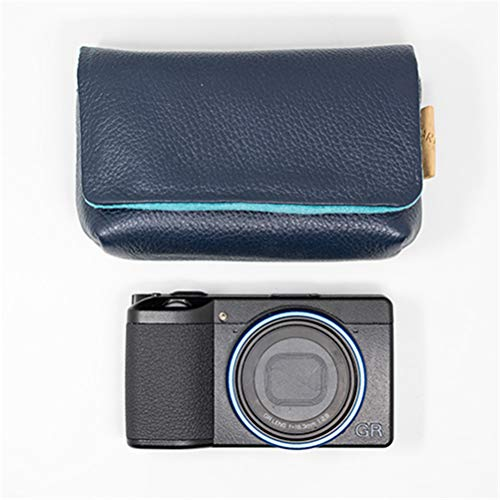 Jingya Ricoh Camera Bag Leather Camera Case for Ricoh Gr3 w/Battery Storage Compartment(Multiple Colour),Blue