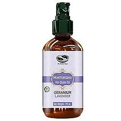 2 fl. Oz Geranium & Lavender UNISEX Pre Shave oil, naturally moisturizing & soothing shave, excellent Pre shave oil for Men & Women with sensitive skin
