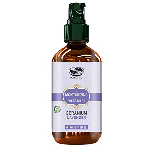 (2 fl. Oz Geranium & Lavender UNISEX Pre Shave oil, naturally moisturizing & soothing shave, excellent Pre shave oil for Men & Women with sensitive skin)