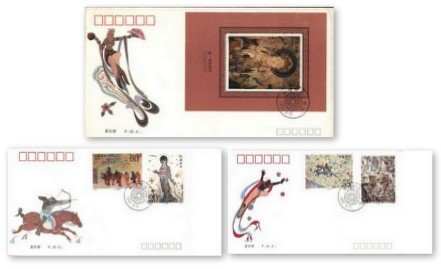 China Stamps - 1992-11 + Souvenir Sheet First Day Covers, Scott 2407-10, 2411 The Dunhuang Murals (4th series)