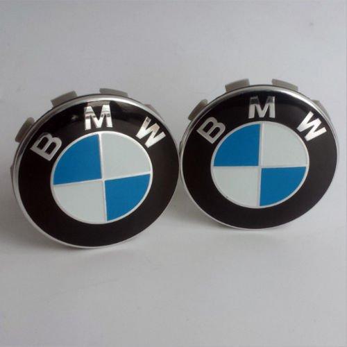 4 x centres de roue 68mm logo embleme bleu blanc cache moyeu