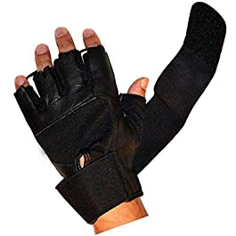 Oyshome Gym and Bike Riding Gloves with Full Strap (Black)