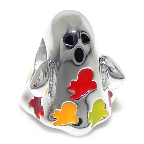 Pro Jewelry 925 Solid Sterling Silver Ghost with Multi-colored Small Ghosts Charm Bead (Pandora The Witch Costume)