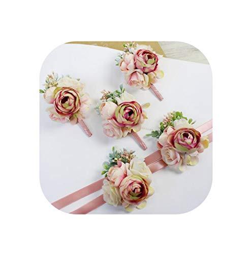 6Pcs DIY Pink Corsage Flower Bride Groom Bridesmaids Corsage Brooch Hand Wrist Flower Wedding Photography Props,3Sets 6Pcs