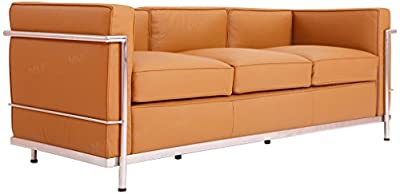 MLF Le Corbusier Style Sofa, Italian Leather, Camel Brown