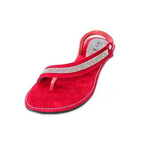 Wear & Walk UK Women Ladies Evening Slip On Casual Flat Comfort Sandal Diamante Shoes Size Red 4fyqdZ