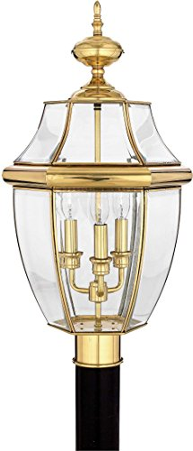 Quoizel NY9043B Newbury Outdoor Post Lantern Pier Mount Lighting, 3-Light, 180 Watts, Polished Brass (23