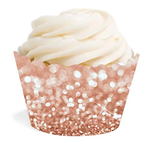 (Andaz Press Glitzy Faux Rose Gold Glitter Cupcake Wrapper Decorations, 24-Pack, Cake Dessert Party Decor, Not Real Glitter)