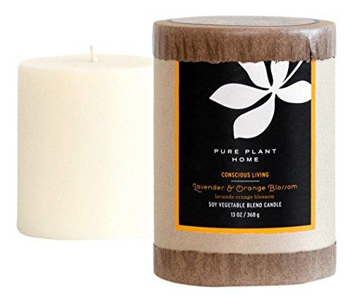 PURE PLANT HOME 3 x 3.5 Soy/Coconut Blend Pillar Lavender/Orange Blossom
