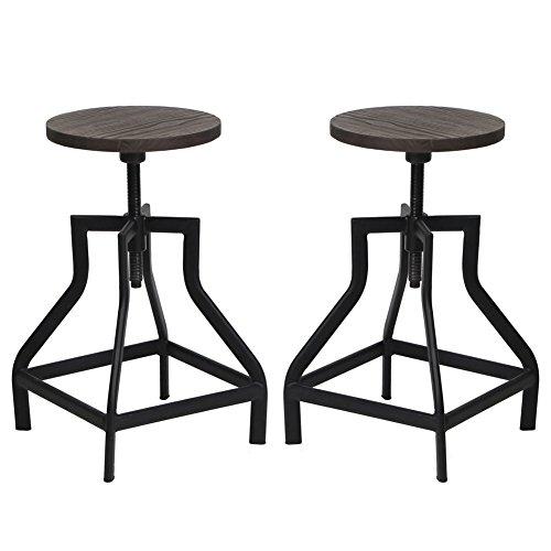 Industrial Swivel Metal Frame Barstool With Adjustable Wood Seat, Set of 2