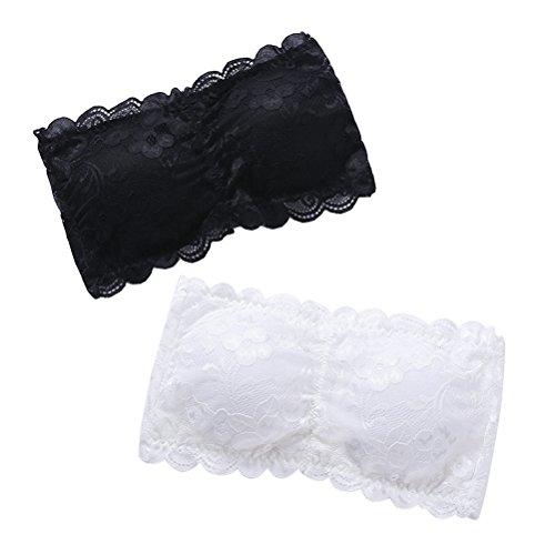 Tinksky 2pcs Womens One Size Strapless Lace Bandeau Bra Padded Removable Seamless Stretch Bandeau Tube Bra Top (White Black)