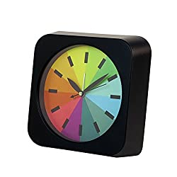 Modern Creative Alarm Clock Non Ticking Silent Analog Rainbow Display Square Rainbow Quiet Battery Operated Alarm Clock with Loud Alarm Black