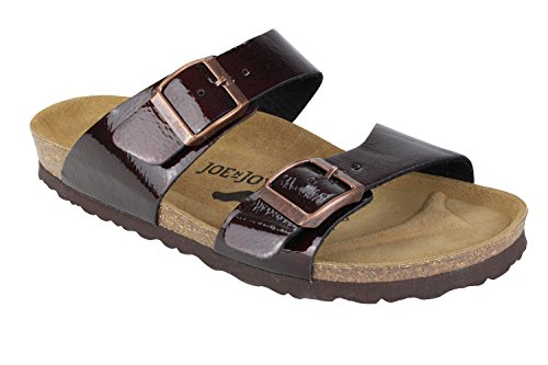 JOE N JOYCE Women Sevilla Soft-Footbed Hammertone SynSoft Sandals Slippers Bordeaux L5oGx