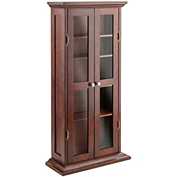 Amazon.com: Winsome Wood CD/DVD Cabinet with Glass Doors, Antique ...