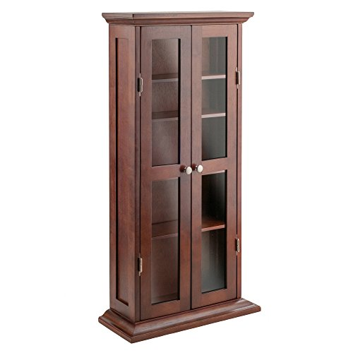 Winsome Wood CD/DVD Cabinet with Glass Doors, Antique Walnut - Glass Media Cabinets