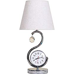 WPCBAA Simple Modern Table lamp Three-Speed Brightness Adjustable Table lamp Eye Band Clock time Bedroom Bedside lamp