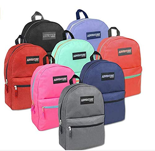 Wholesale Bulk Backpacks Classic 17 Inch Backpacks for Boys and Girls - Case Pack of 24 Each (8 Color Assortment)