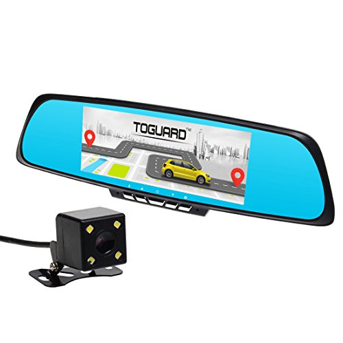 Toguard 7-inch Car Smart Mirror WiFi, GPS Navigation SAT NAV, Bluetooth, Dual Lens HD 1080P Dash Camera, Touch Screen,Rearview Mirror Backup Camera, Android 4.4, RAM 1GB, ROM 16GB,Free GPS Map
