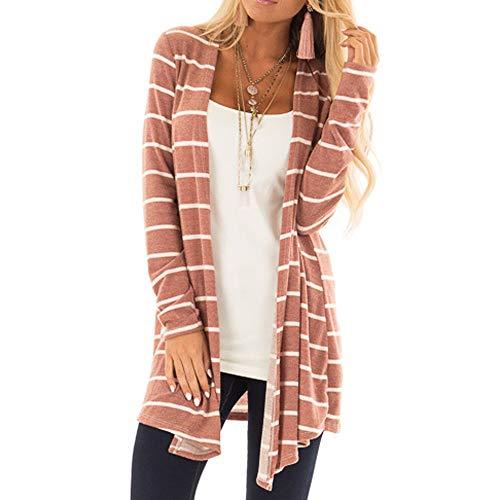 Women Cardigan ,2018 Laimeng_ World Womens Long Sleeve Stripe Print Fashion Long Coat Bllouse T-Shirt Tank Tops