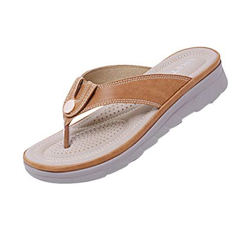 (DDKK Sandals Womens Bohemian Thong Criss-Cross Flip Flops-Easy Braided Thong Flat Sandals for Summer-Size 6-8.5-Metal Buckle Round Head Elastic Back Beach Slipper)