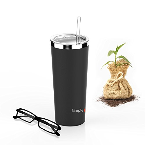 SimpleHH 22OZ Stainless Steel Tumbler Vacuum Insulated Coffee Cup Double Wall Travel Flask Mug with Lid and Straw, Black