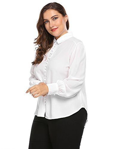 Involand Women Long Sleeve Casual Loose Curved Hem Button Down Shirt Plus Size (Dress Shirt Size Plus Women White)