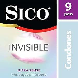 Sico Invisible, Condones de Látex Natural Ultra Delgados Sensibilidad Paquete con 9 Piezas