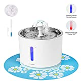 Vekonn Cat Water Fountain - Stainless Steel Top and Intelligent Auto Power Off Pump 3 Carbon Filters - 1 Mat and 2 Cleaning Brushes - Water Level Window with LED Light (Green)