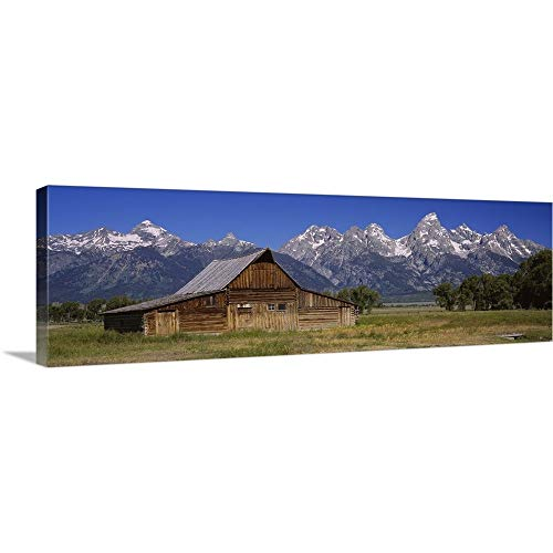 Premium Thick-Wrap Canvas Wall Art Print Entitled Old barn on a Landscape, Grand Teton National Park, Wyoming 60