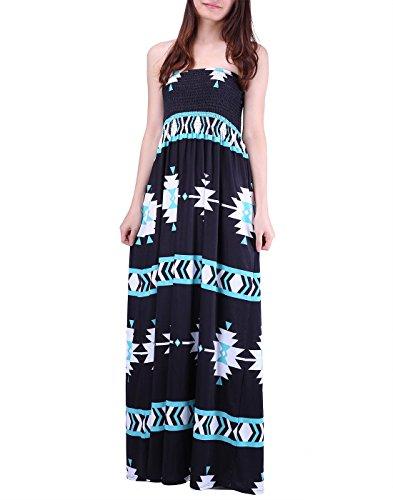 Band Tube Dress (HDE Women's Strapless Maxi Dress Plus Size Tube Top Long Skirt Sundress Cover Up (Black Mint Tribal, Large))