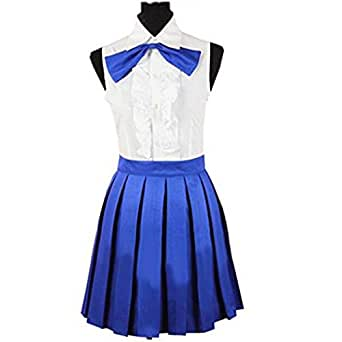 HOLRAN Fairy Tail Erza Scarlet Daily White Blue Dress costume (Small)