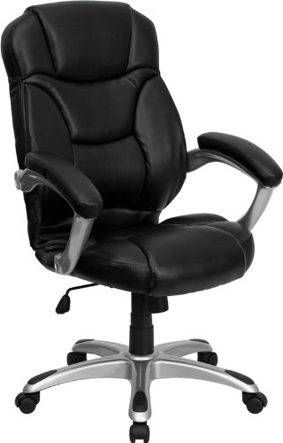 Flash Furniture High Back Black Leather Contemporary Executive Swivel Chair with Arms