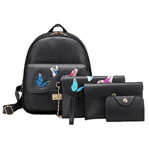 Outsta 4 Sets Women Girl Butterfly Embroidery Waterproof Fabric Fashion Backpack School Bag Shoulder Handbag Casual Daypack Travel (Black)