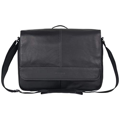 Kenneth Cole Reaction Risky Business Full-Grain Colombian Leather Crossbody Flapover Messenger Bag, Black (Black Leather Bag)
