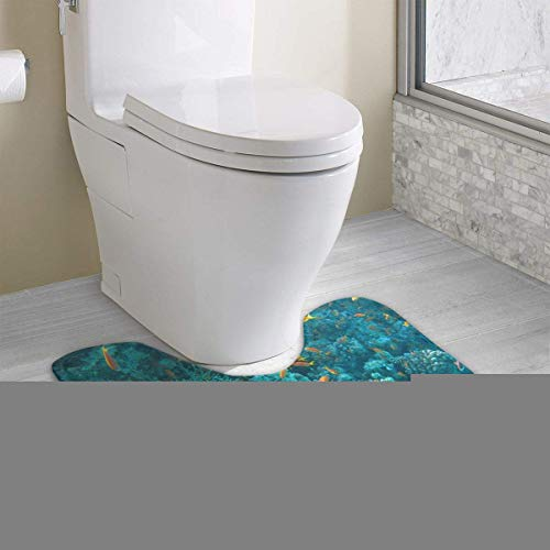 Dealbert Ocean Life Contour Bath Rugs,U-Shaped Bath Mats,Soft Memory Foam Bathroom Carpet,Nonslip Toilet Floor Mat 19.2″x15.7″