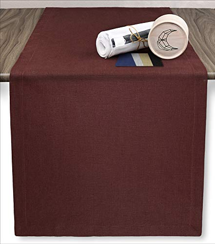LunaFlax 100% French Linen Table Runner with Laundry Bag - Mahogany Red 14 x 72 Inch - for Dresser Scarf and Farmhouse Accessories, Wedding and Bridal Shower Decorations ()