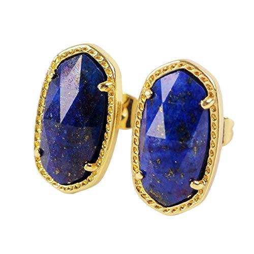 ZENGORI 1 Pair Gold Plated Prong Setting Natural Lapis Lazuli Post Stud Earrings ZER0120