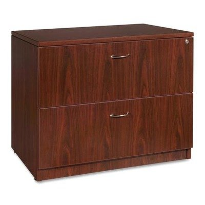 Lorell Essentials Lateral File - 35quot; Width x 22quot; Depth x 29.5quot; Height - 2 x File Drawer(s) - Laminate, Mahogany