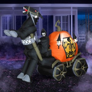 Halloween Yard Decoration Inflatable Airblown Animated Reaper Horse & Carriage Lights Up 6 ft.Tall