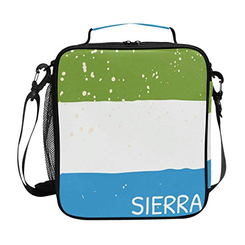 (Distressed Sierra Leone Flag Insulated Lunch Box Cooler Bag Reusable Tote Picnic Bags for Travel, Camping, Hiking and RVing)