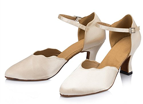 Honeystore Womens Soft Ground Ankle Strap Heel Dance Shoes Ivory 3L2PEg