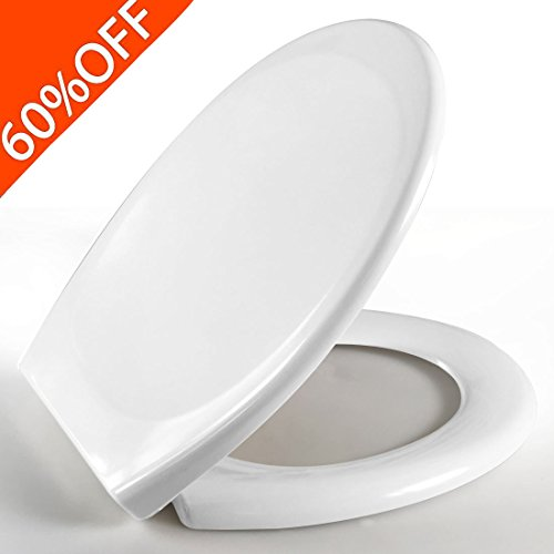 Toilet Seat featuring Whisper-Close, Easy Clean & Change Hinges (Seat Elongated Quiet Closing)