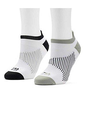 Women's FILA Sport 2-pk. No-Show Tab Socks Black/White/Grey 5-9
