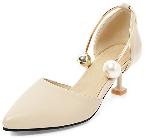 IDIFU Womens Fashion Pearls Pull On Stiletto Mid Heeled Pointed Toe Low Top Party Pumps Beige TmhEXpM