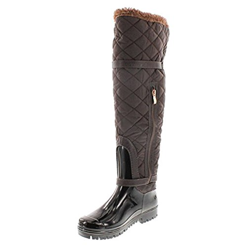 Women's Forever Carrie Brown69 66 Boots Buckle Link Quilted Motorcyle z44x5qRp